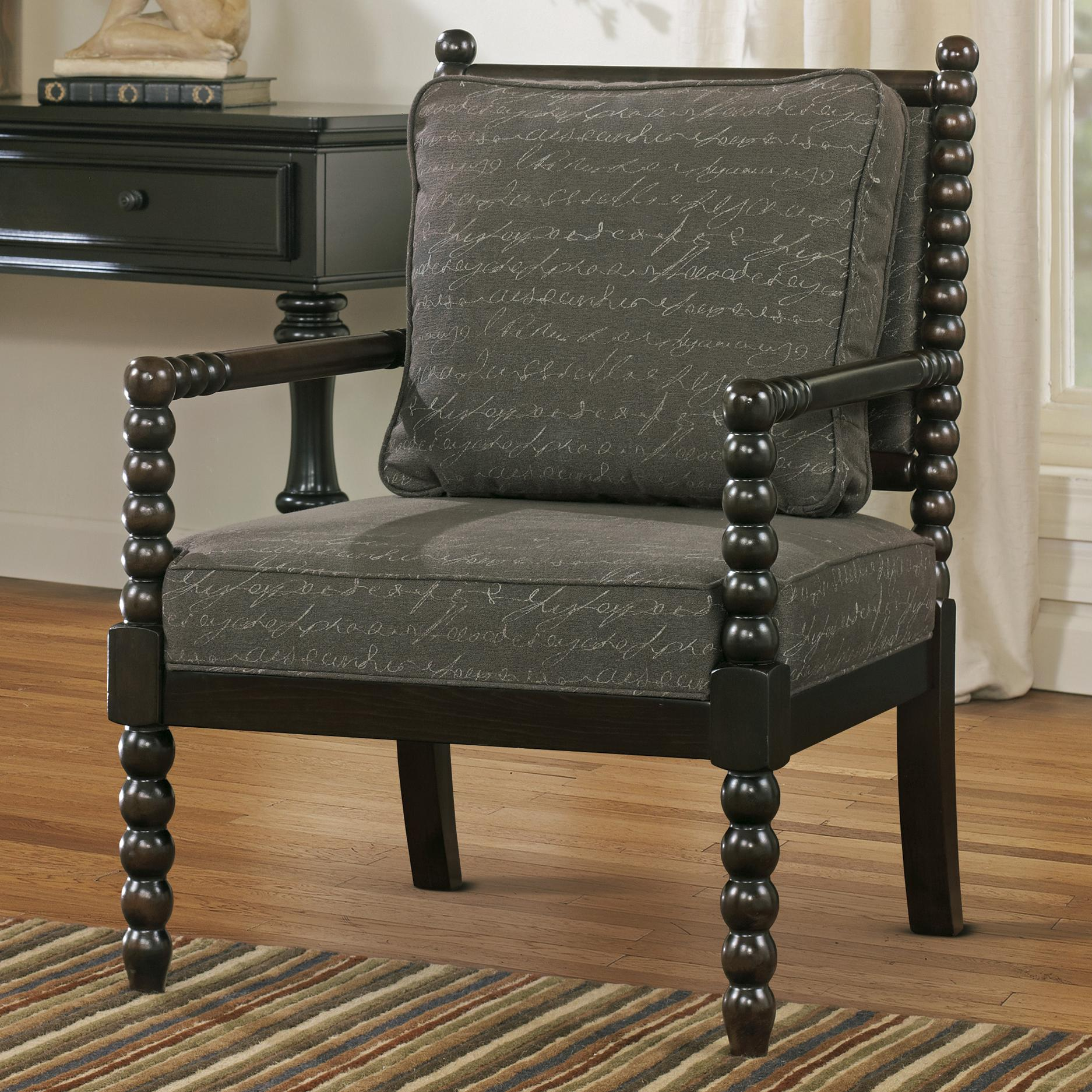 accent chairs with arms lowes patio table and chair in script fabric spool turned legs