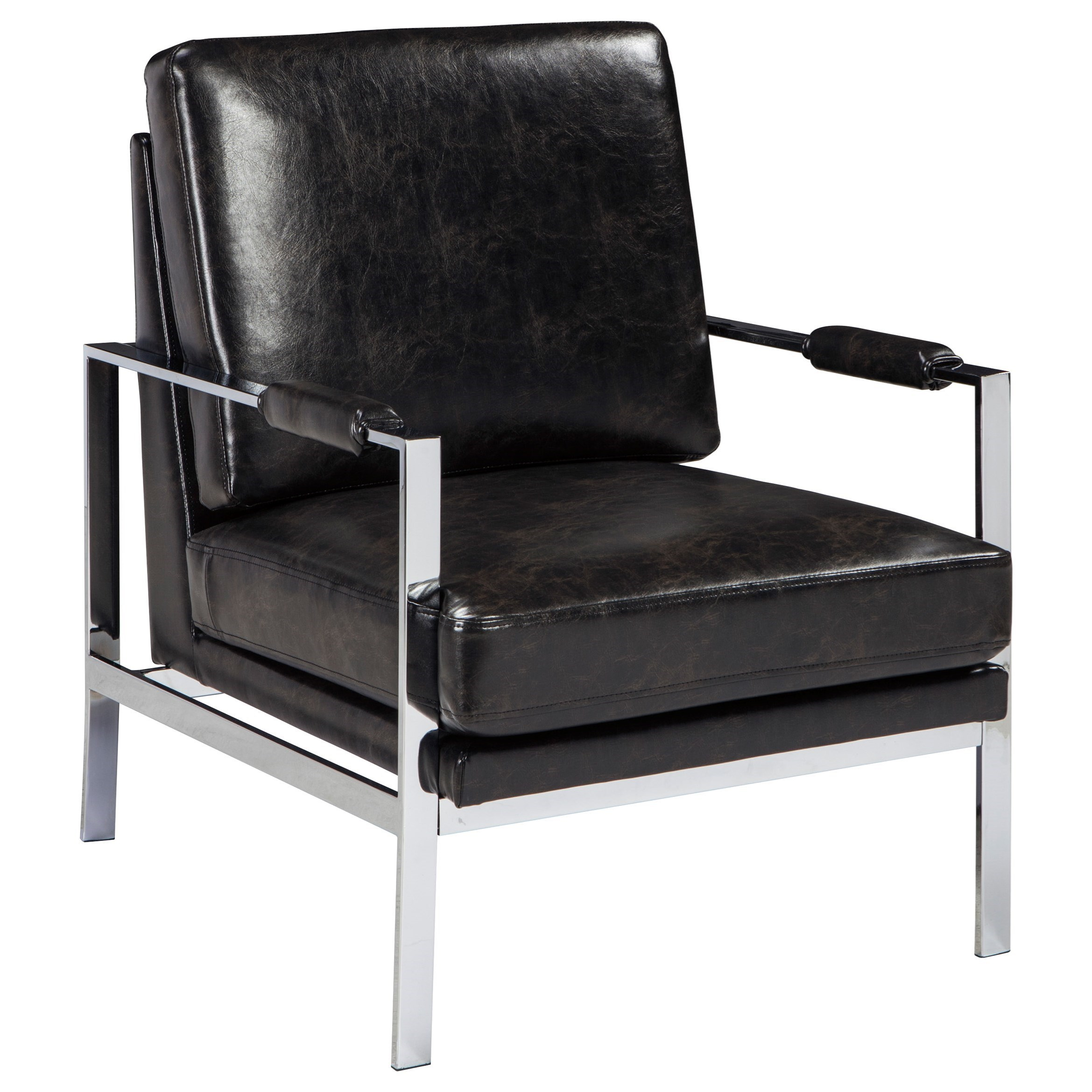 Armed Accent Chairs Chrome Finish Metal Arm Accent Chair With Black Faux