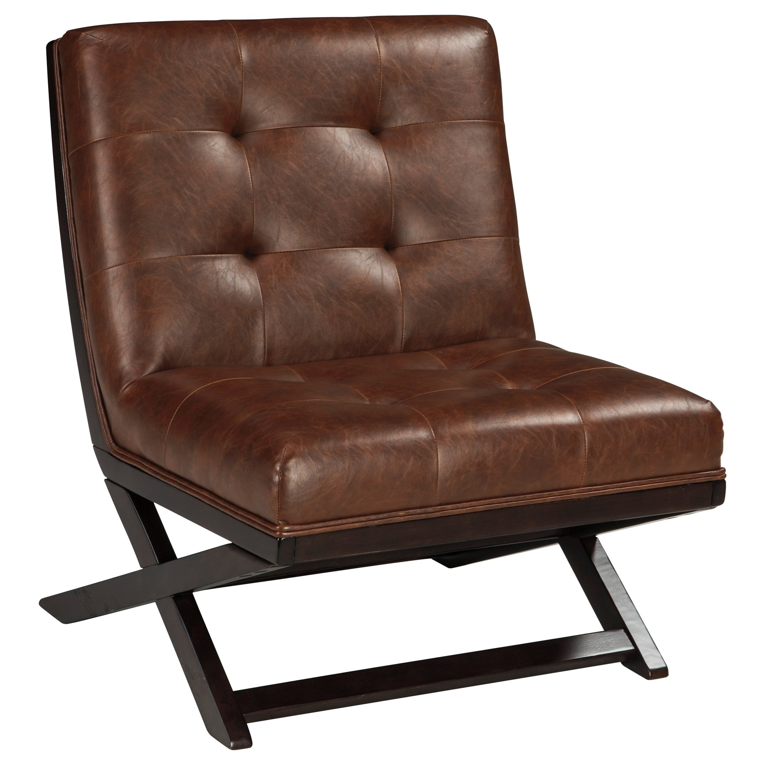 Armless Accent Chairs Wood X Base Armless Accent Chair With Brown Faux Leather