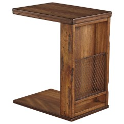 Side Table For Recliner Chair Hiking Lightweight Rustic C Shape End With Wire Mesh By