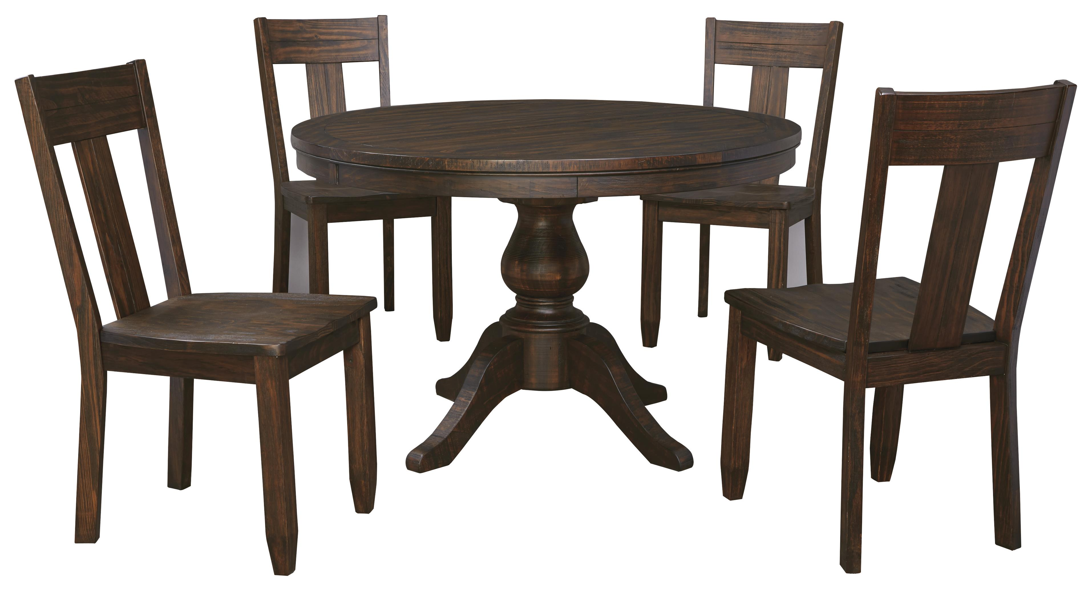Round Dining Table And Chairs 5 Piece Round Dining Table Set With Wood Seat Side Chairs