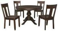 5-Piece Round Dining Table Set with Wood Seat Side Chairs ...