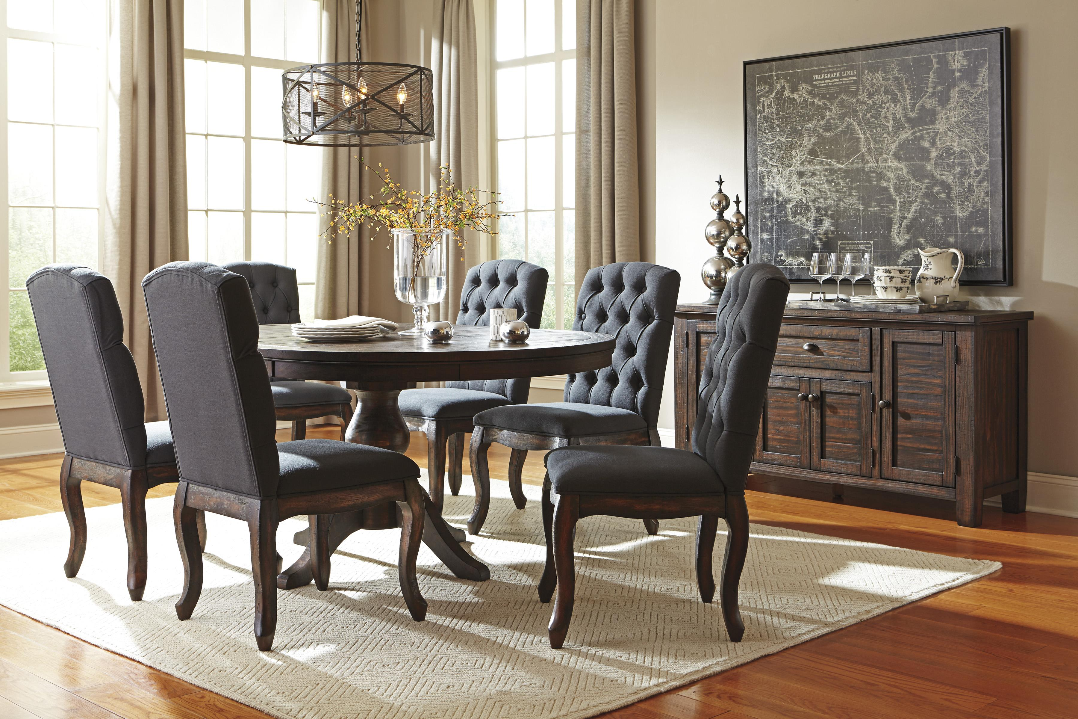Solid Wood Pine Round Dining Room Pedestal Extension Table