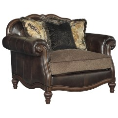 Faux Leather Chair And A Half Antique Gold Accent Chairs Traditional Ottoman By Signature Design