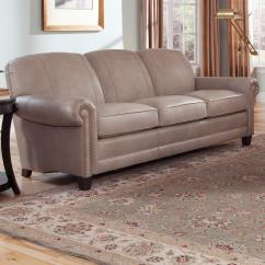 Rolled Arm Sofa With Nailhead Trim Thin Table Stationary Arms Wood Feet And Nail Head
