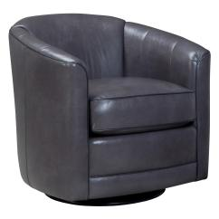 Leather Swivel Barrel Chair Zero Gravity Lift Glider With Back By Smith Brothers