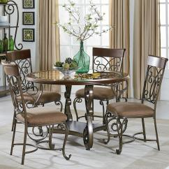Dining Table With Metal Chairs Room Chair Covers Cape Town Round And Set Scroll Detail By