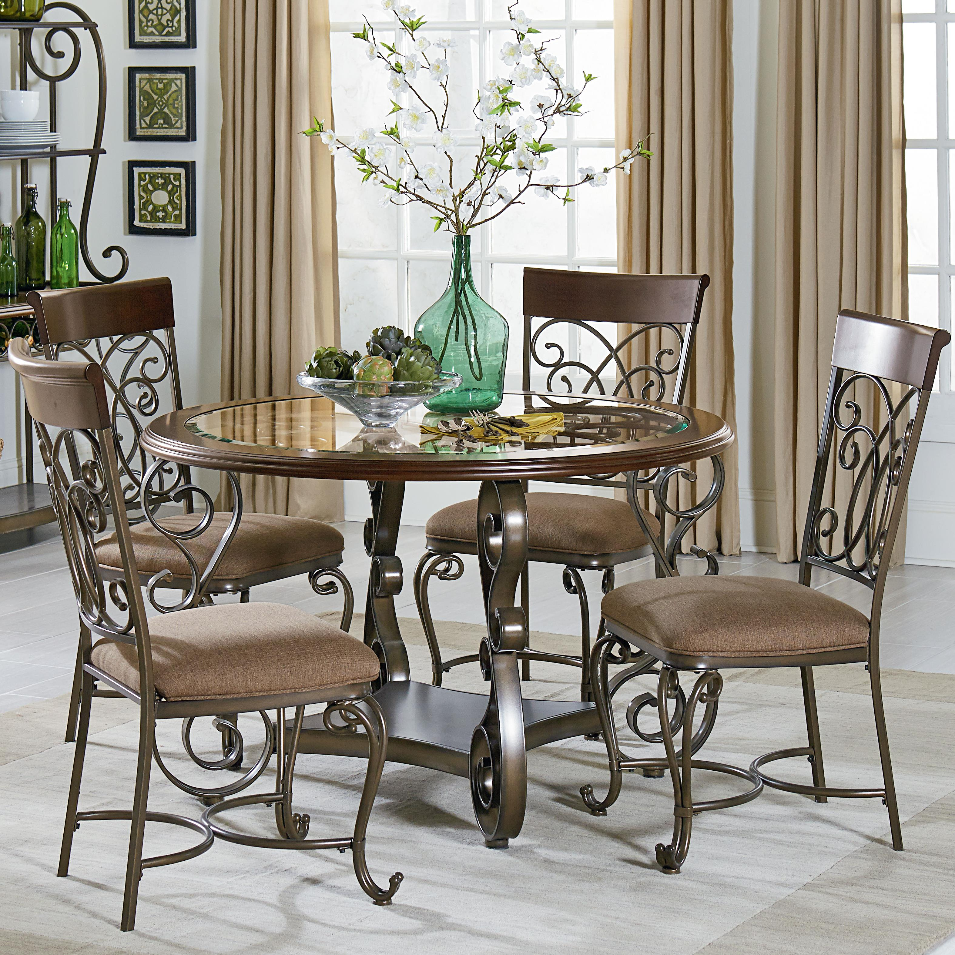 Round Table And Chair Set Round Table And Chair Set With Metal Scroll Detail By