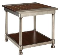 Contemporary Single Shelf End Table with Plank-Style Wood ...