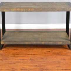 Pine Sofa Tables Black Leather Grey Walls Distressed Console Table With Industrial Metal