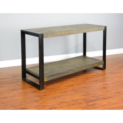 Pine Sofa Tables Accent Distressed Console Table With Industrial Metal