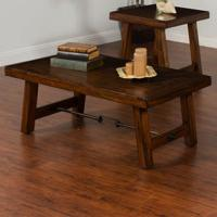 Distressed Mahogany Coffee Table with Turnbuckle Accent by ...
