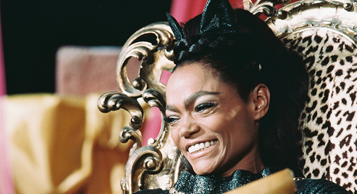 Eartha Kitt (1927-2008), US actress and singer, in costume sitting in a leopard skin covered chair in a publicity still issued for the US television series, 'Batman', USA, circa 1968. The series starred Kitt as 'Catwoman'. (Photo by Silver Screen Collection/Getty Images)