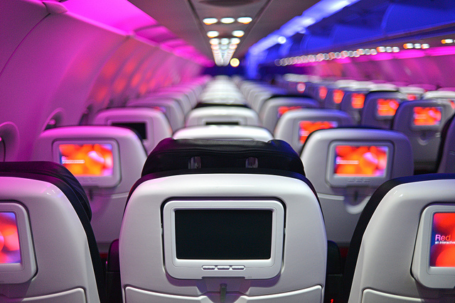 Economy class cabin of airliner