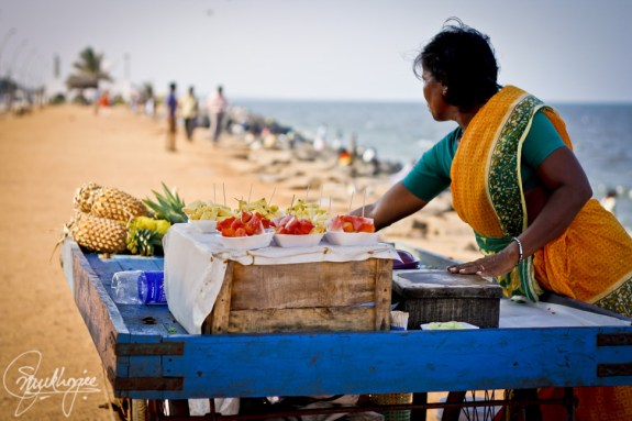 Auroville has a great beach nearby, where Aubrey Sacco and I spent some time