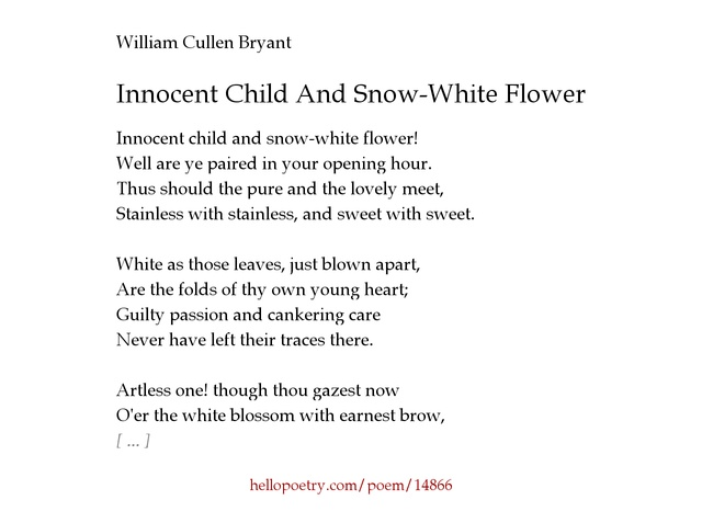 Short poems about snow white poemsrom innocent child and snow white flower by william cullen bryant o poetry mightylinksfo