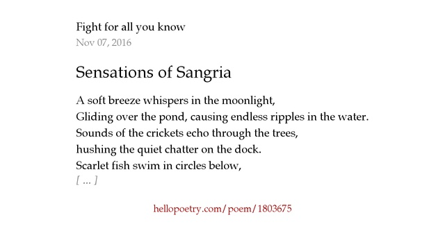 Sensations of Sangria by Addison May - Hello Poetry