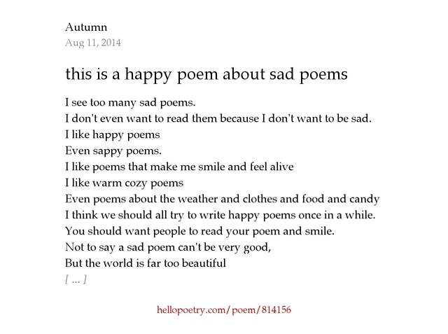 i want you to be happy poem