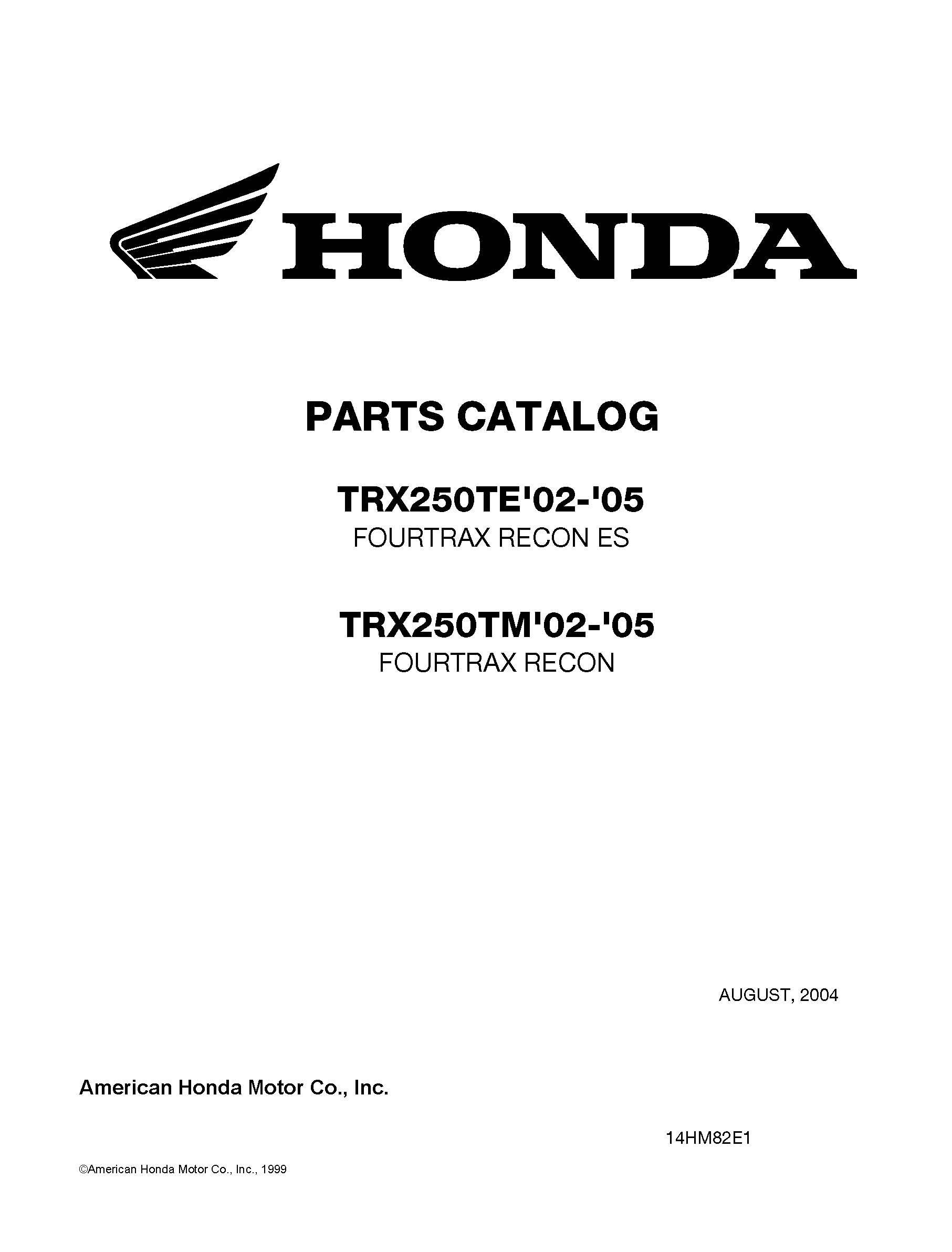 Honda 2002-2005 TRX250TE Fourtrax Recon ES/TRX250TM