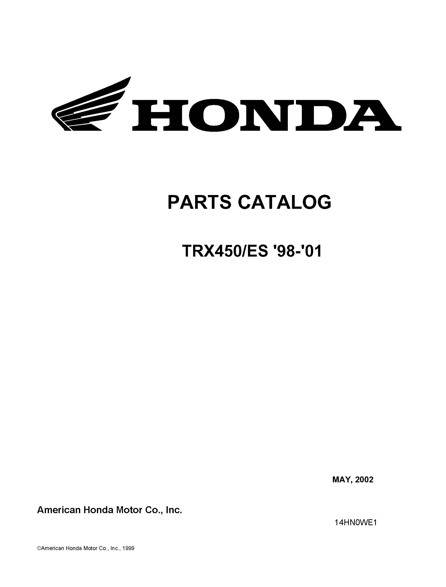 Honda 1998-2001 TRX450S/ES Parts Catalog Service Shop