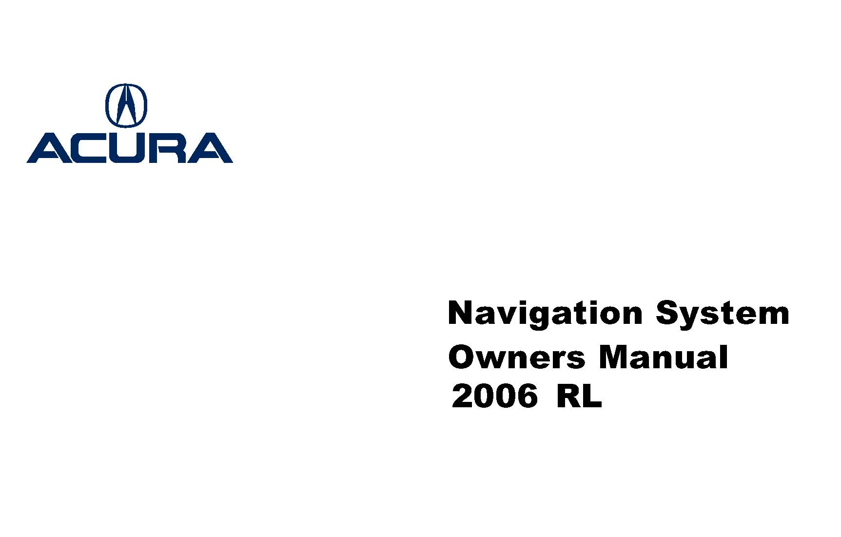 2006 ACURA RL OWNERS MANUAL PDF