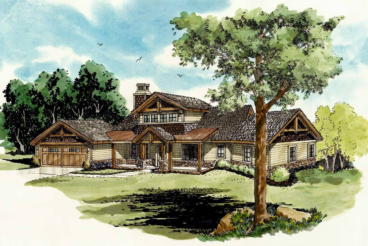 Rustic Mountain Home Plan - 12932kn Architectural