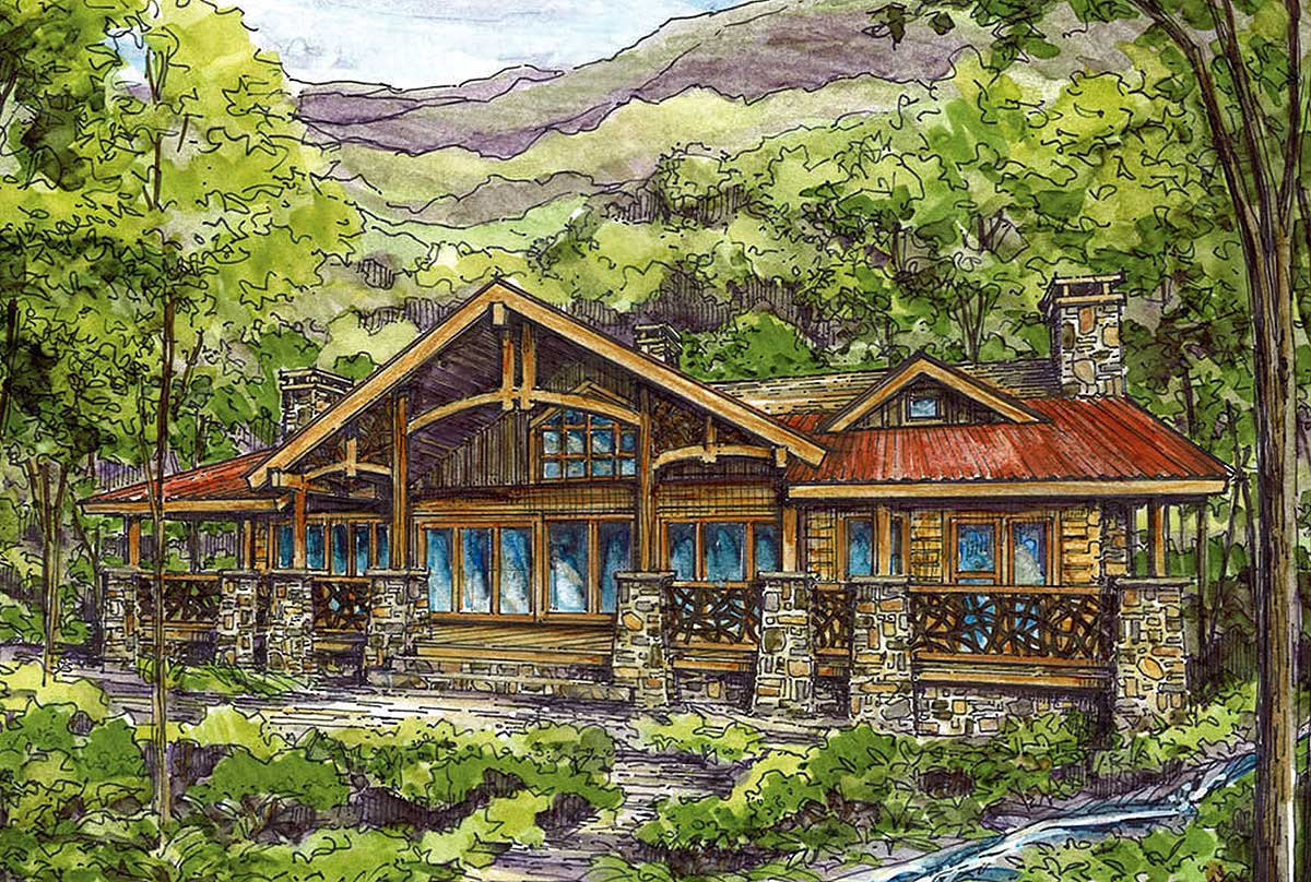 Log Home Plan With Twin Master Suites - 13305ww