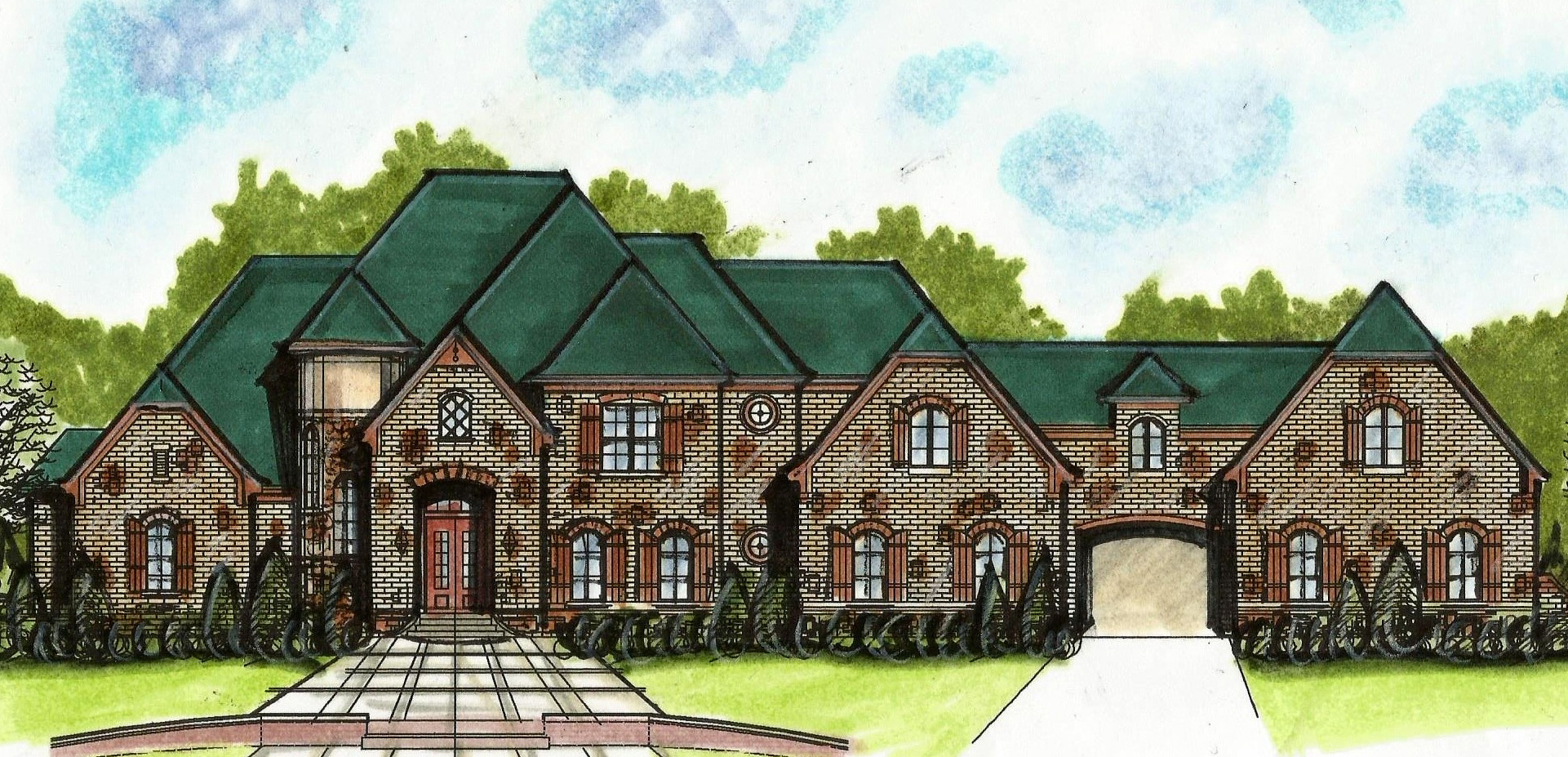 European House Plan With Porte-cochere - 13498by