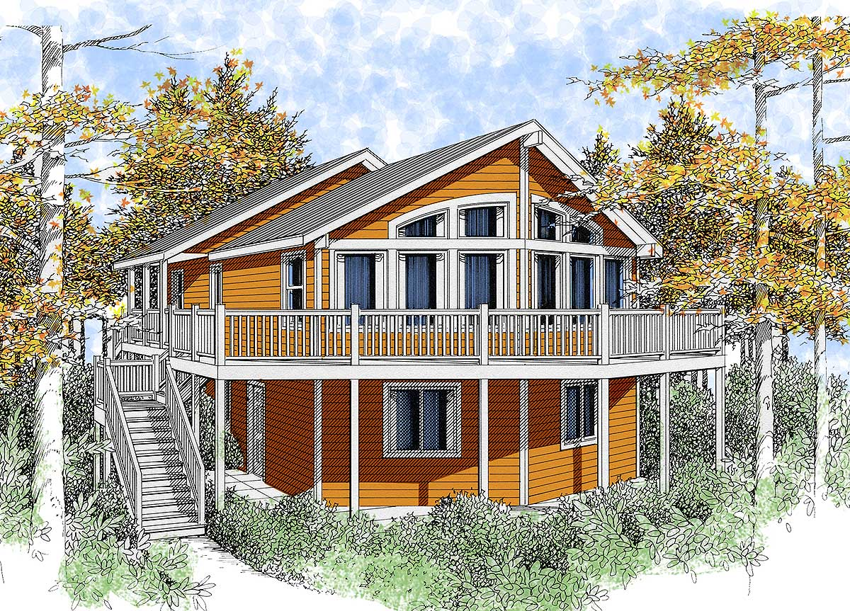 Lakefront Narrow Lot Home Plans
