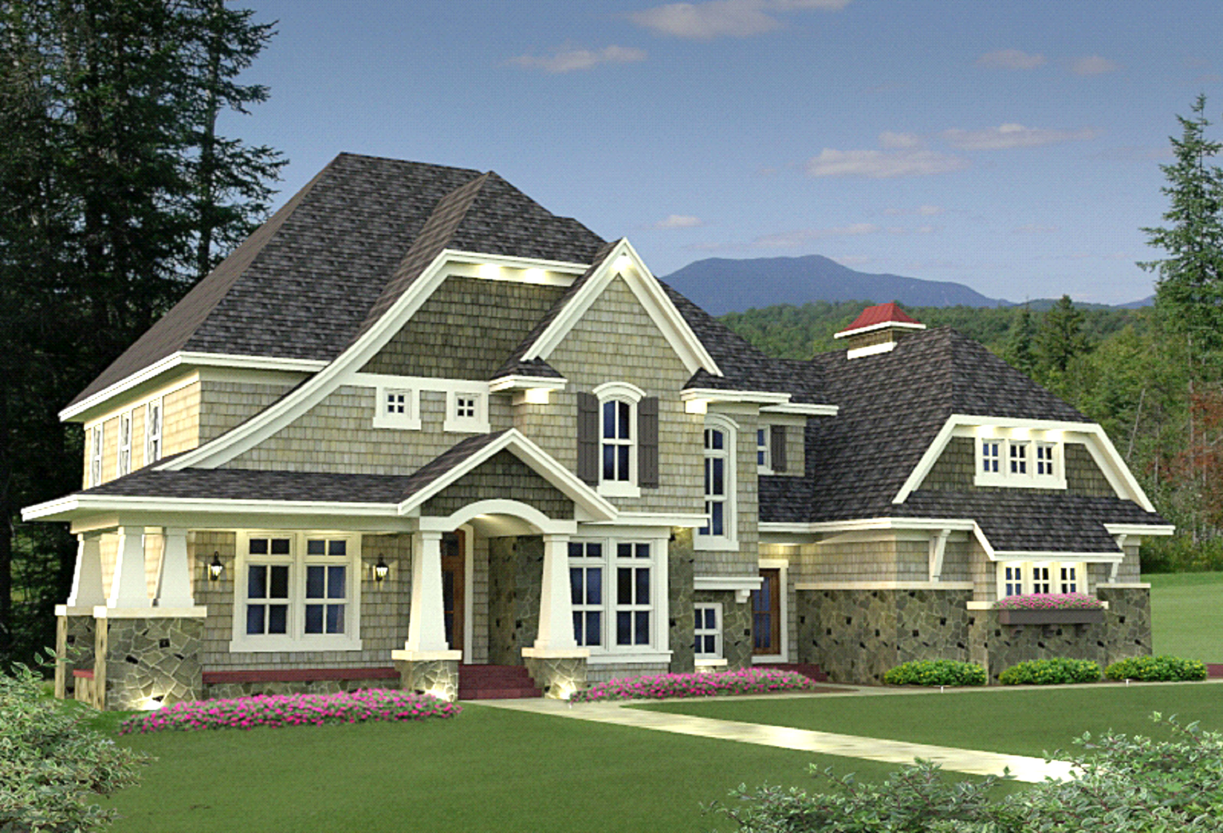 4 Bedroom Shingle Style Stunner - 14589rk Architectural