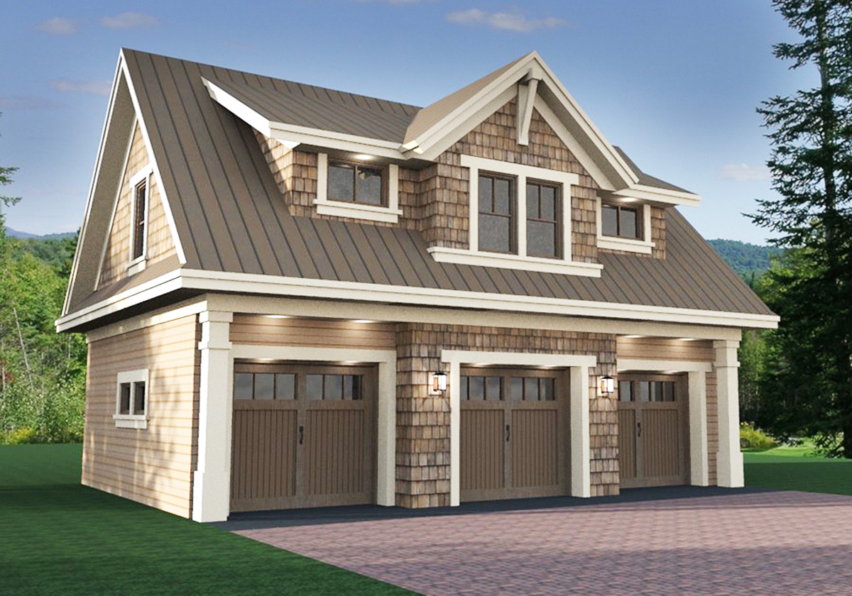 3 Car Garage Apartment with Class  14631RK  2nd Floor Master Suite CAD Available Carriage