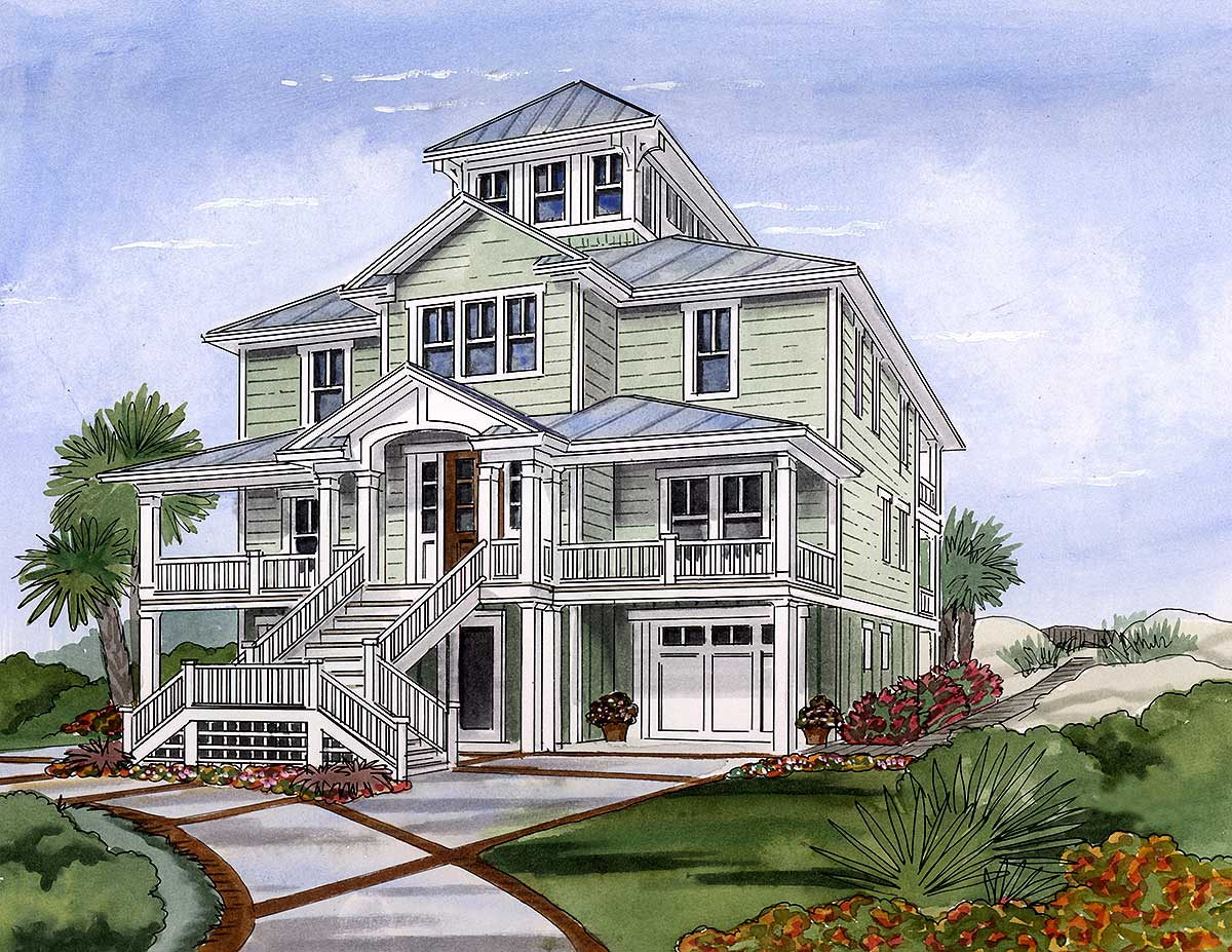 Beach House Plan with Cupola