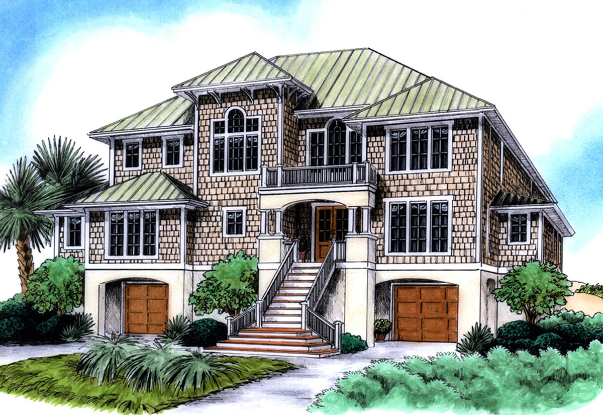 Spacious Beach House Plan - 15038nc Architectural