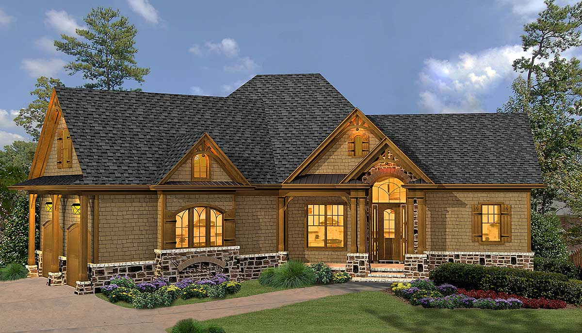 Rustic Hip Roof 3 Bed House Plan