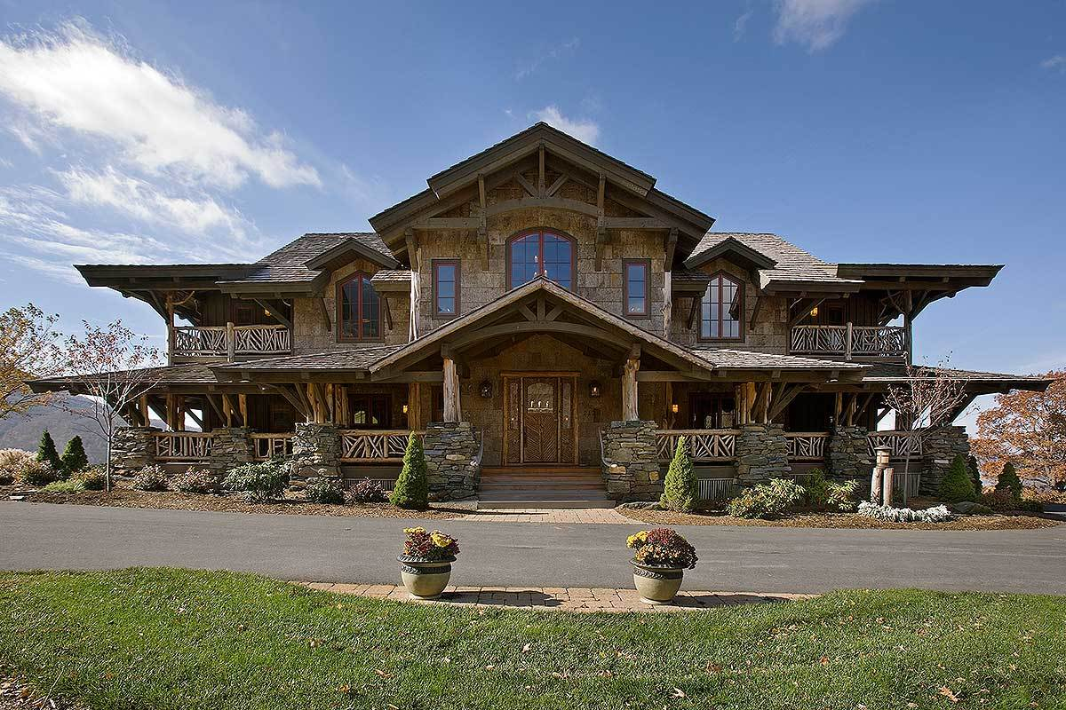 Rustic Wood and Stone House Plans