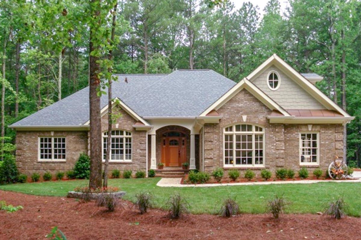 Classic Brick Ranch Home Plan - 2067GA