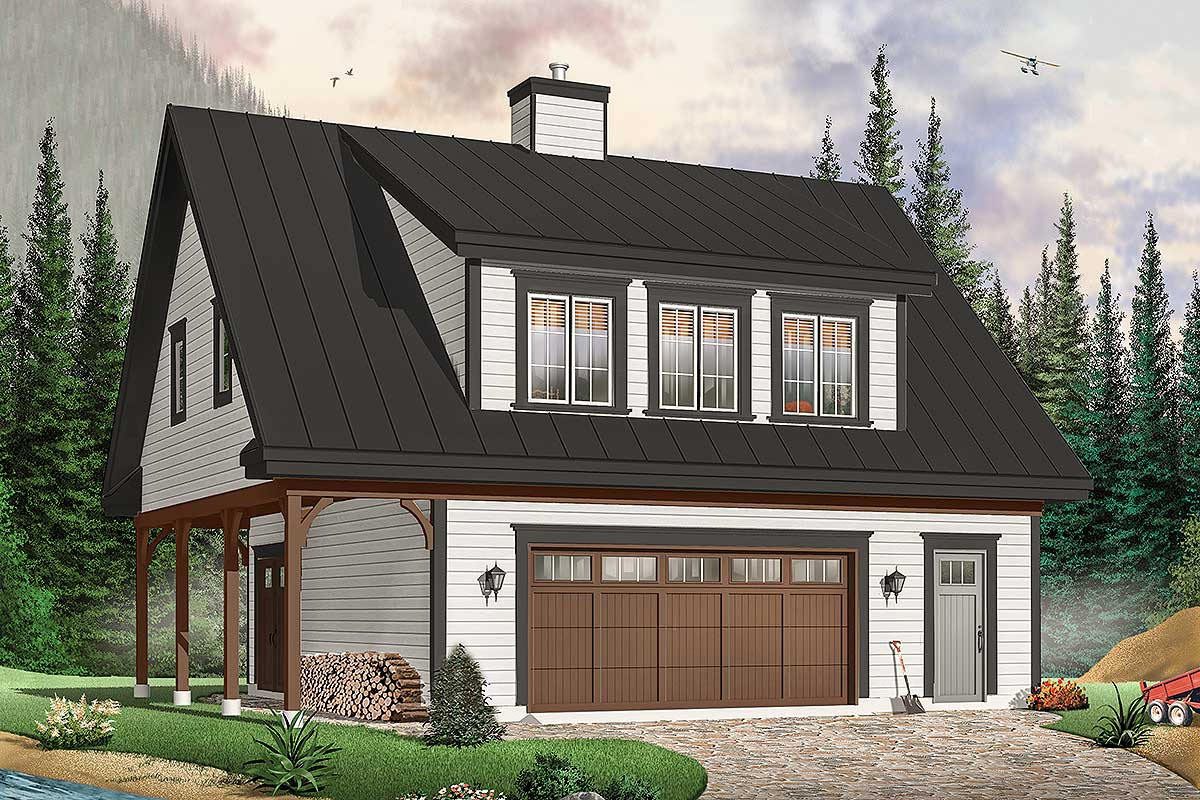 Carriage House With Shed Dormer - 21550dr Architectural