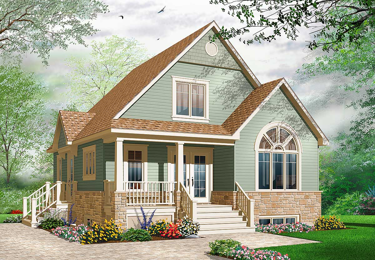 Cozy Cottage With Covered Porch 21735dr Architectural