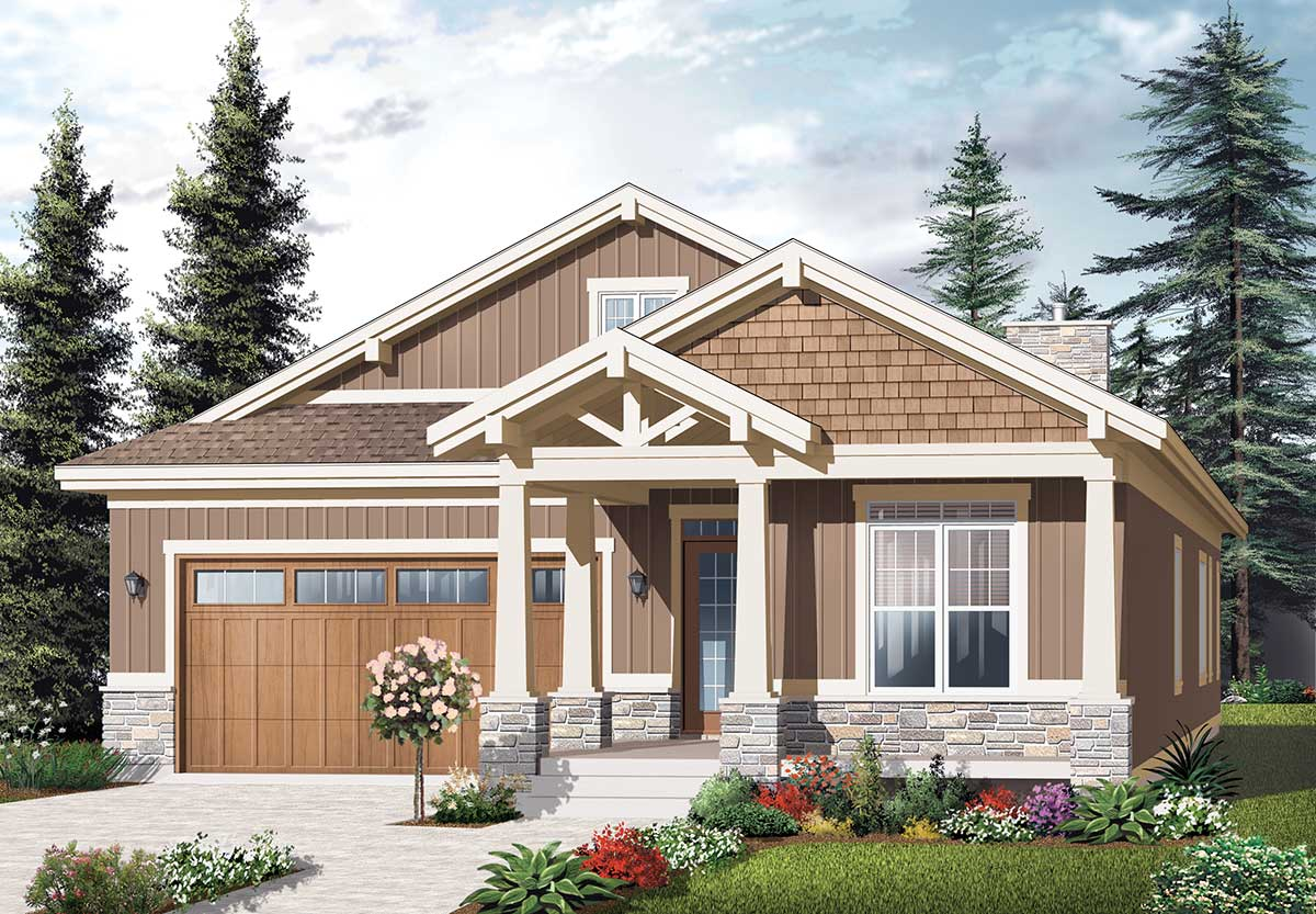 Craftsman Ranch With Nested Gables - 21938dr