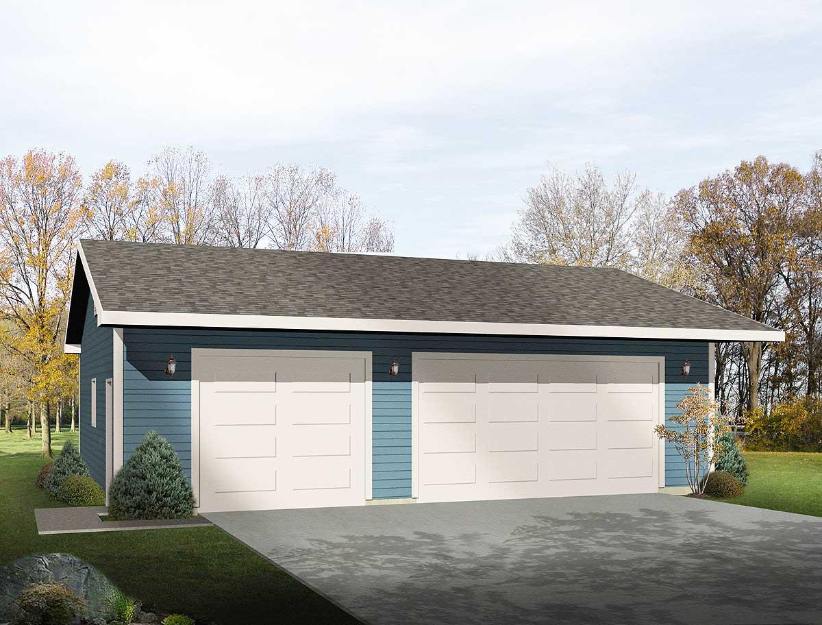 Simple ThreeCar Garage  2218SL  Architectural Designs