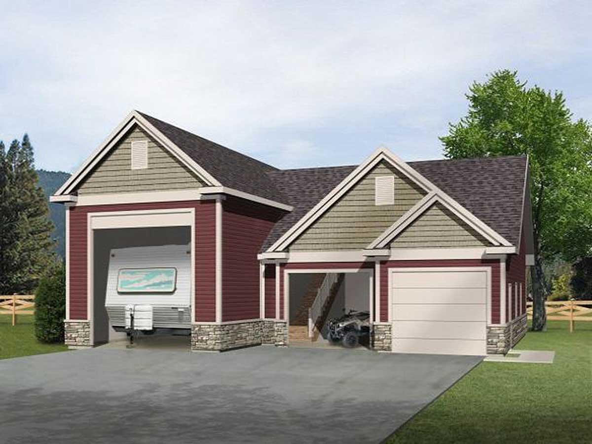 RV Garage with Loft  2237SL  Architectural Designs