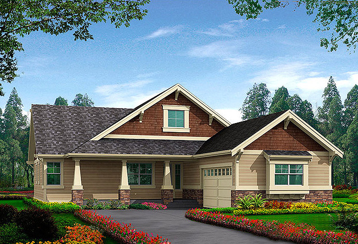 Craftsman Style Rambler House Plans