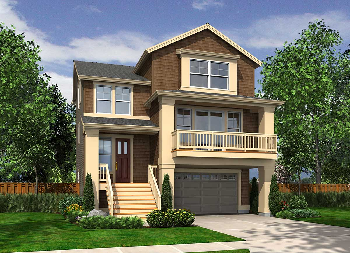 Narrow Lot House Plans with Drive Under Garage