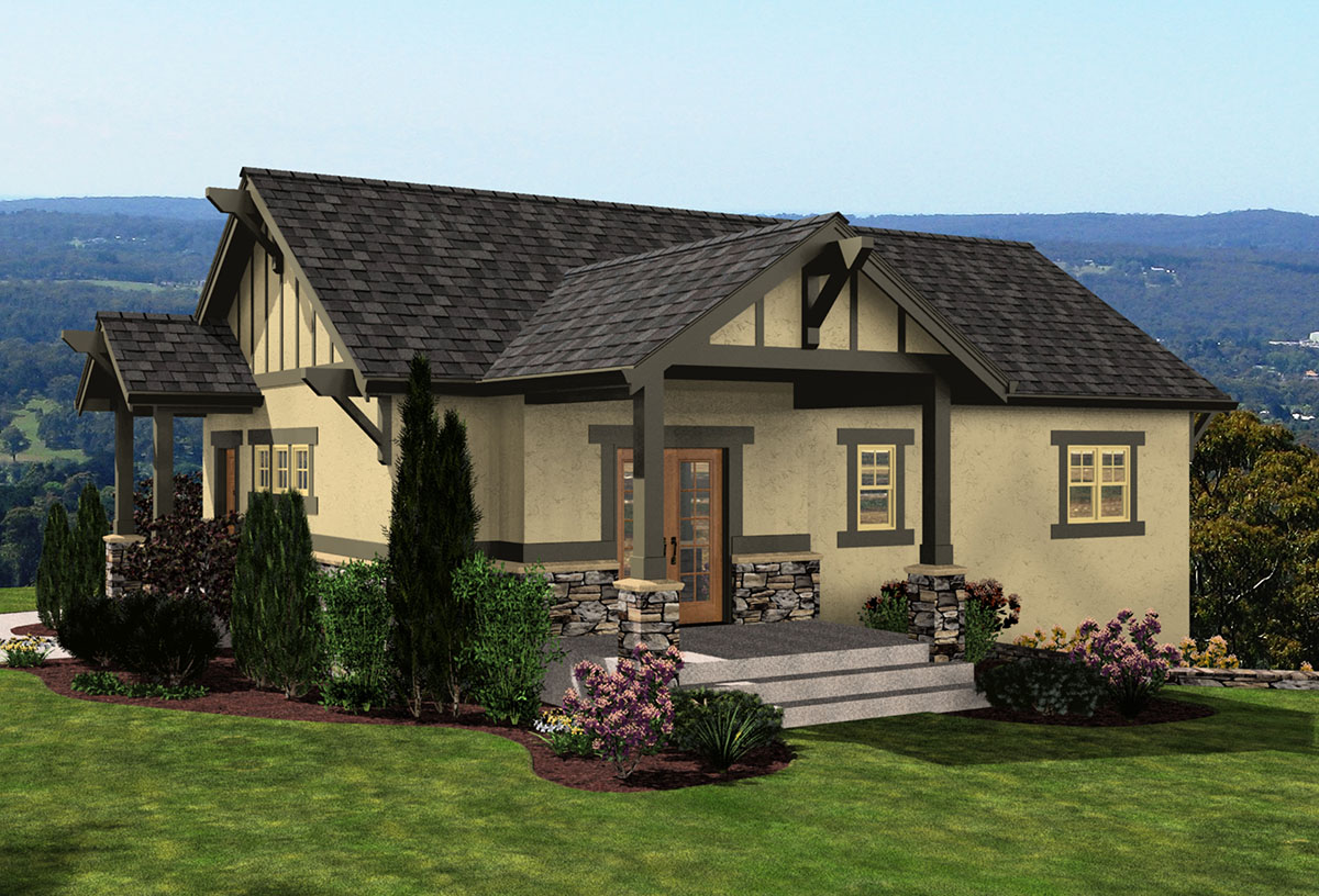 Bungalow with Drive Under Garage  23449JD  Architectural