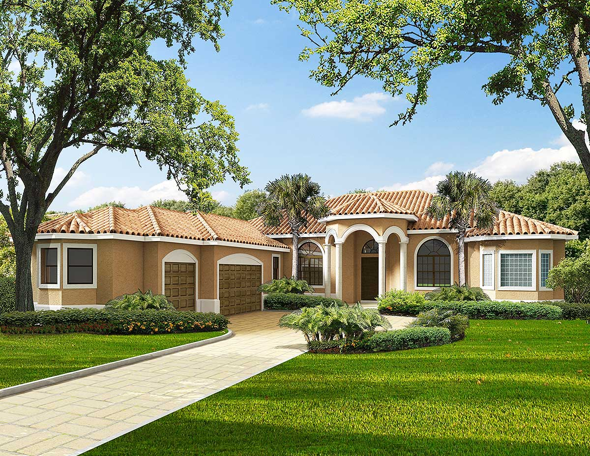 One Story Mediterranean House Plans