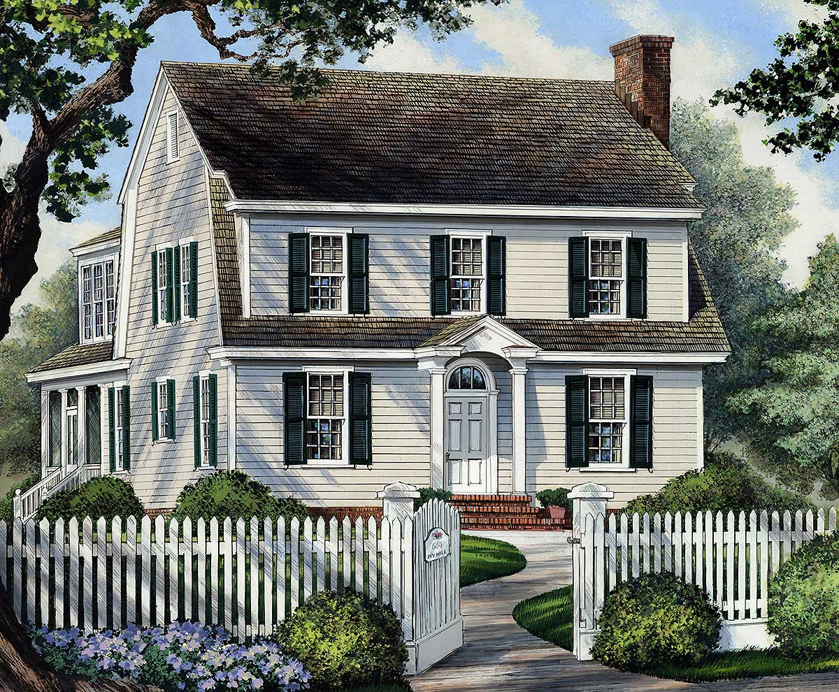 Narrow Lot Colonial House Plan