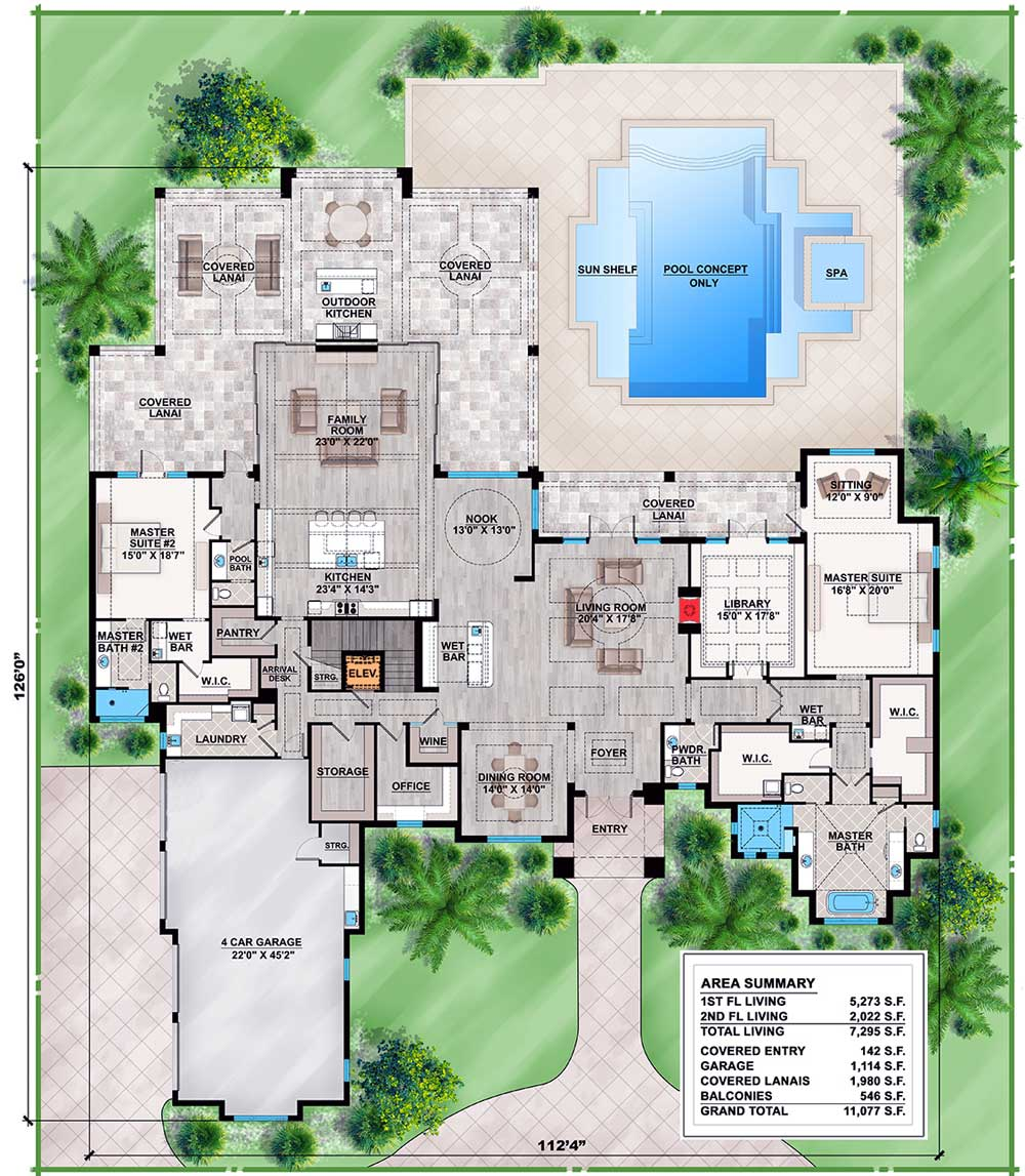 Spacious Contemporary Florida House Plan - 86025bw