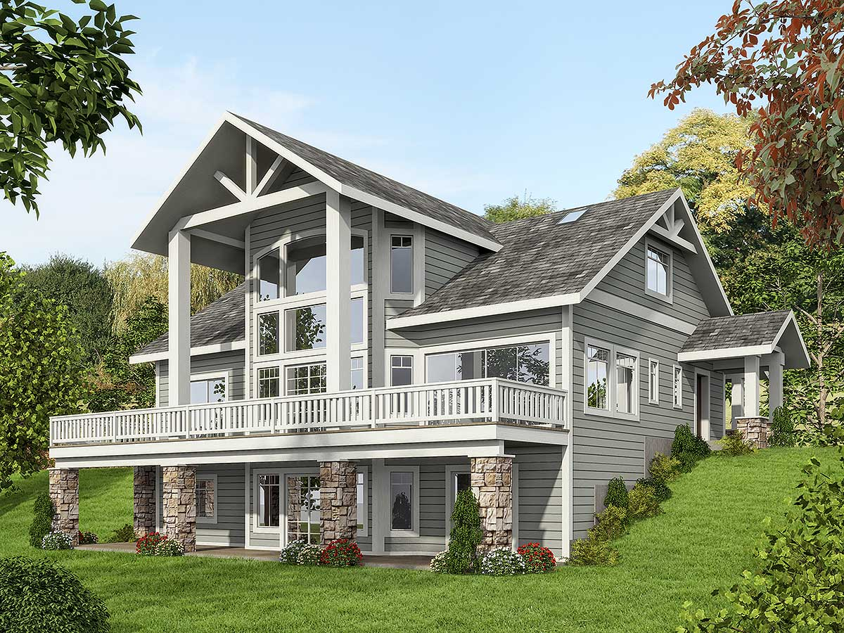 Mountain House Plan With Dramatic Window Wall - 35516gh