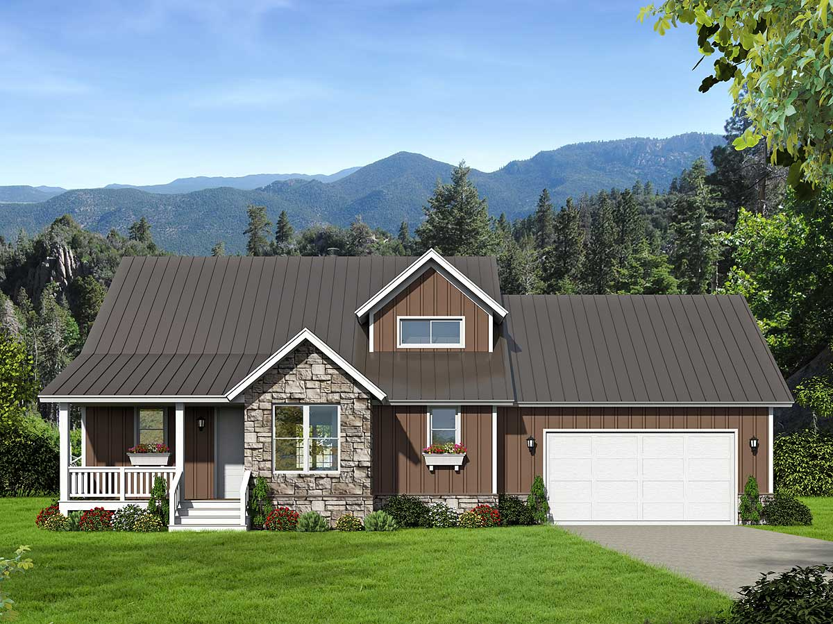 Backwoods 3 Bed House Plan With Attached Garage - 68430vr