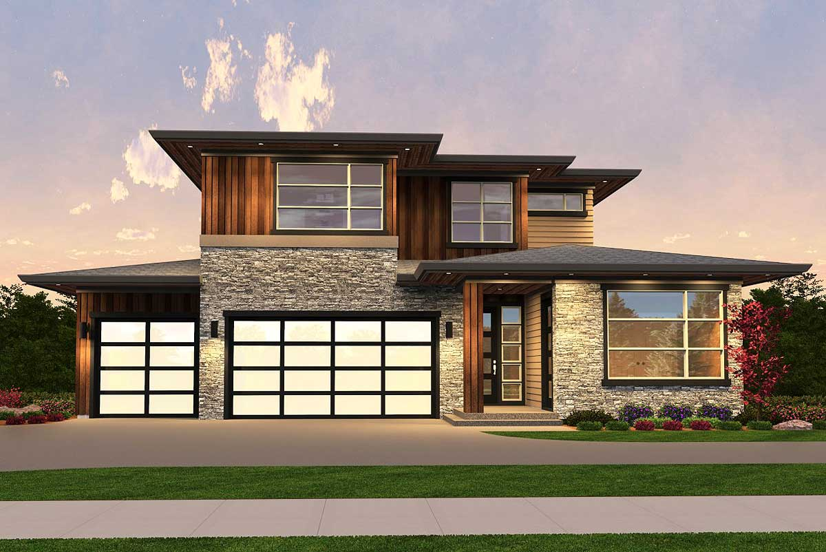 Exclusive Sleek Contemporary House Plan - 85141ms